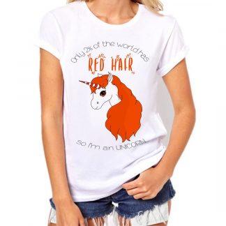 UNICORNIO redheads camiseta ilustrada solo el 2% tiene el pelo rojo soy un unicornio