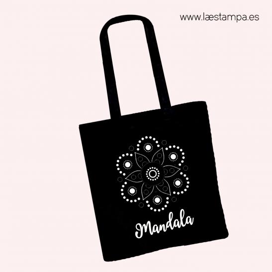 bolsa mandala negra tote bag de diseño único