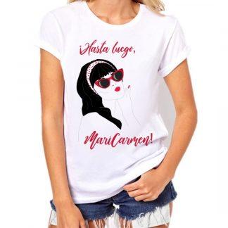 hasta luego maricarmen camiseta chica manga corta ilustracion diseño pin up flamenca blanco camisetas ilustradas originales y personalizadas pormispecas.es