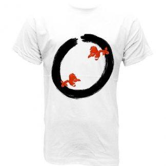 Ensō camiseta blanca imperfección inspiración peces dibujo mandala yoga zen BUDISMO