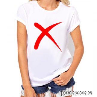 CAMISETA X chica moda mujer casual informal fashion influencer no tachada moda mujer cruz camisetas baratas moda barata camisetas chulas camisetas bonitas rojo en blanco y rojo las mejores camisetas