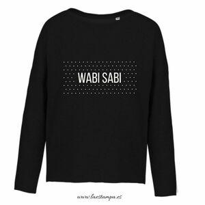 wabi sabi sudadera mujer con frases bonitas color negro en dos tallas felpa perchada