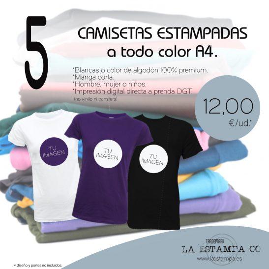 5 CAMISETAS estampadas A4 a todo color impresión digital