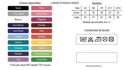 camiseta basica NIÑO tabla colores