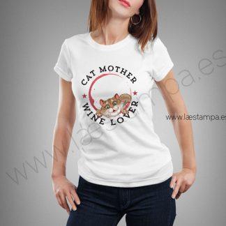 camiseta-mujer-madre-gatos-amante-vino-manga-corta