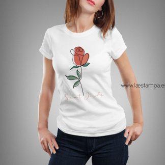 Camiseta mujer o unisex sant jordi rosa dibujo a mano alzada lineal