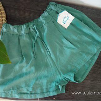 shorts mujer evasé viscosa verde