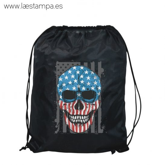 mochila american skull de cuerdas en color negro rock calavera mochilas de playa