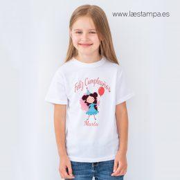 camiseta niña feliz cumpleaños personalizada con su nombre manga corta cuello redondo color blanco niños