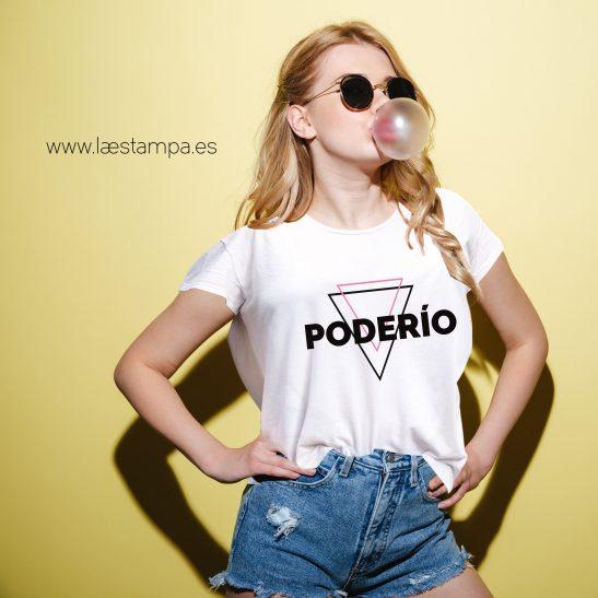 camiseta con mensaje mujer cropped fit poderio