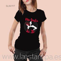 camiseta con frase mujer mu jarta de tó divertida humor manga corta o tirantes negro o blanco