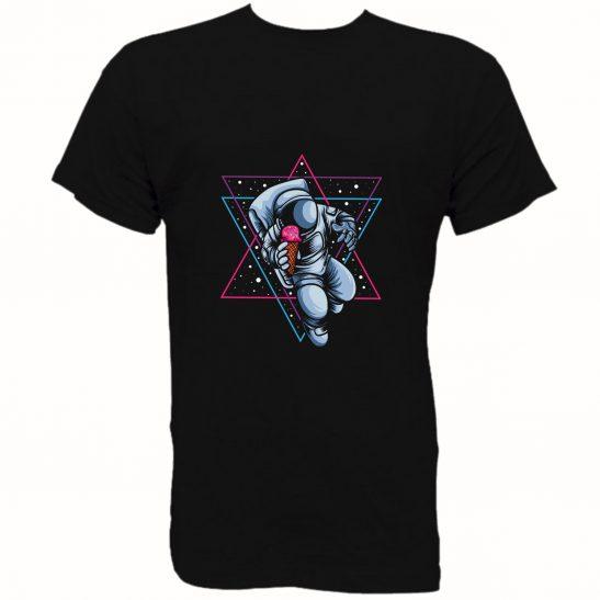 camiseta astronauta helado hombre unisex fucsia negro