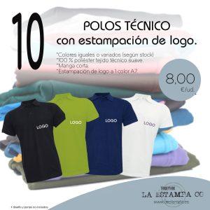 10 POLOS TECNICO con estampación de logotipo