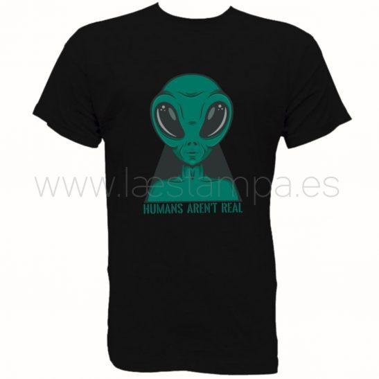 camiseta extraterrestre humans arent real para hombre mujer unisex color negro manga corta cuello redondo de algodón