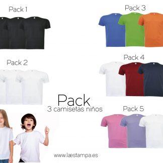 pack de tres camisetas manga corta para niño o niña de algodón vuelta al cole baratas